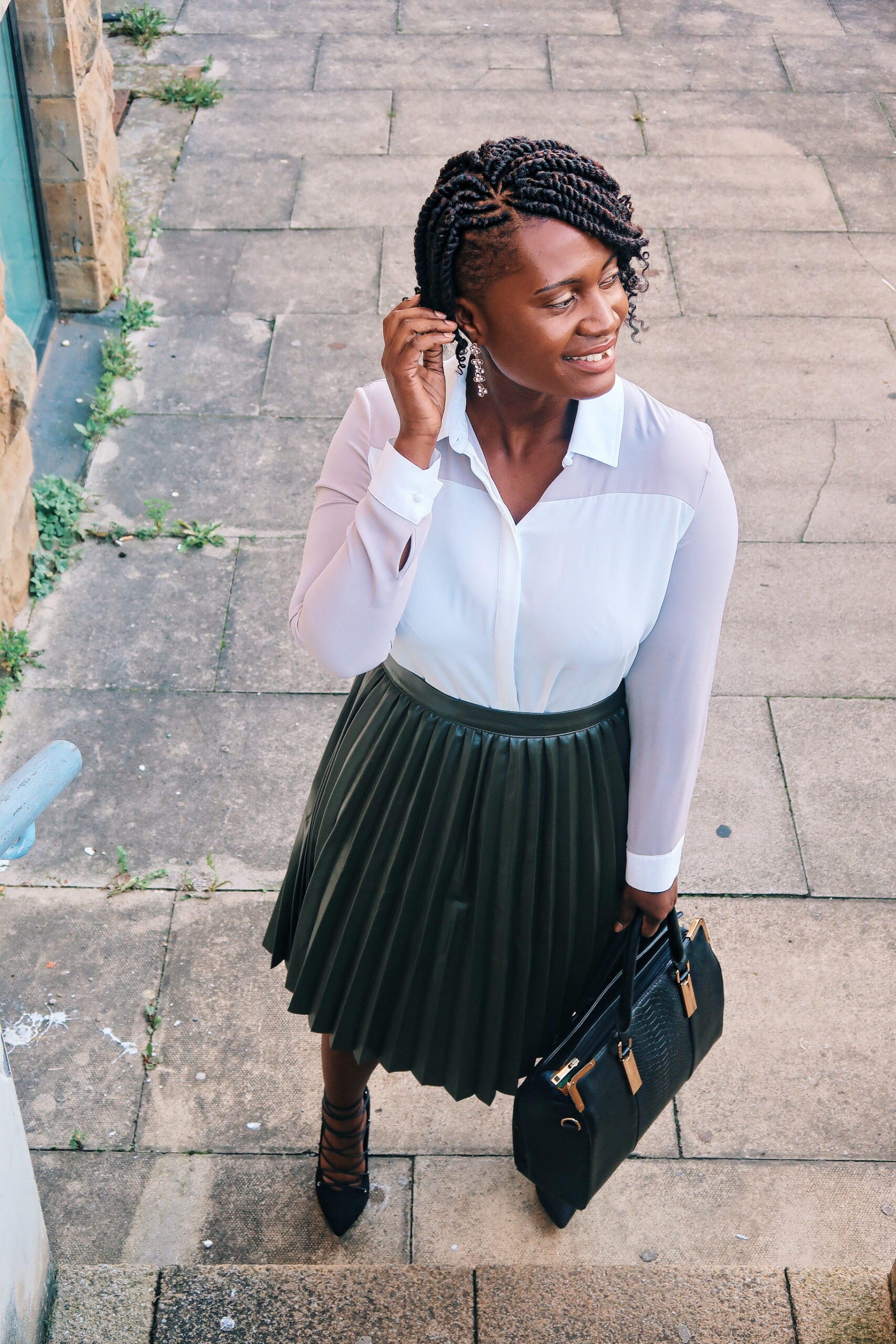 military green pleated skirts